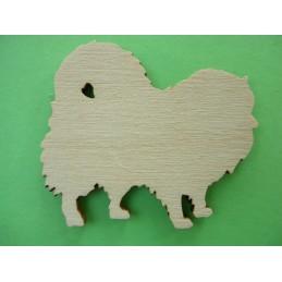 APPLIQUE EN BOIS BALTIQUE CONTREPLAQUE COLLE : chien 4x3cm (n°2)