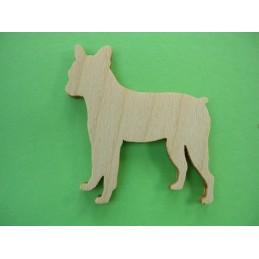 APPLIQUE EN BOIS BALTIQUE CONTREPLAQUE COLLE : chien 4x4cm (n°1)