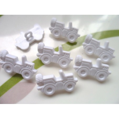LOT 6 BOUTONS : voiture Jeep blanche 21mm