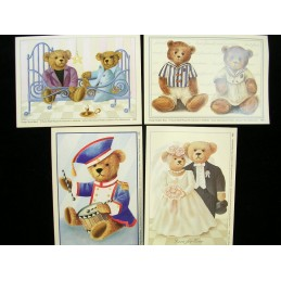 LOT DE 4 CARTES CARTONNES 9*13CM : les oursons (n° 2)