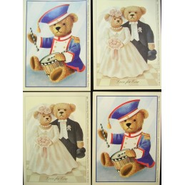 LOT DE 4 CARTES CARTONNEES 9*13CM : ourson mariés et musicien