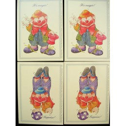 LOT DE 4 CARTES CARTONNEES 9*13CM : clown