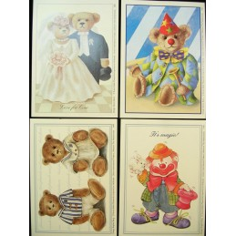 LOT DE 4 CARTES CARTONNEES 9*13CM : ourson et clown