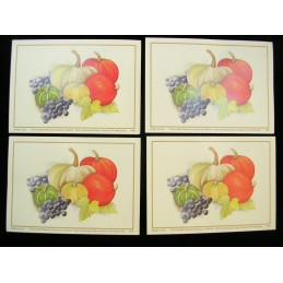 LOT DE 4 CARTES CARTONNEES 9*13CM : potiron, raisin, citrouille