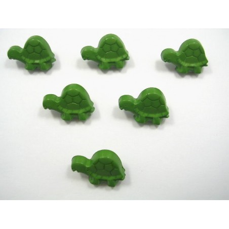 LOT 6 BOUTONS : tortue verte 18mm