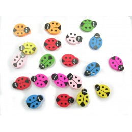 LOT 20 PERLES BOIS : coccinelle multicolore 20mm