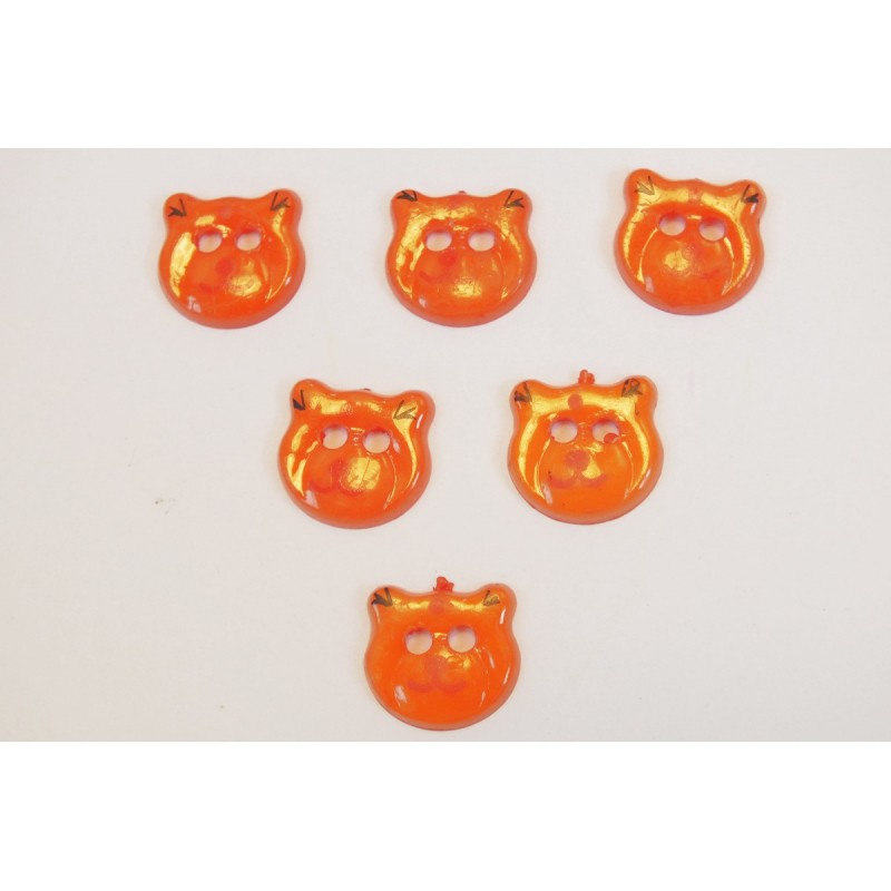 LOT 6 BOUTONS : tete ours orange 17mm