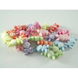 LOT 24 PERLES PLASTIQUES : lapin multicolores 13mm