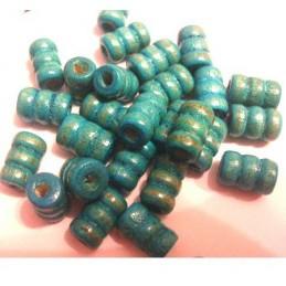 LOT DE 20 PERLES BOIS : tube couleur emeraude 10mm