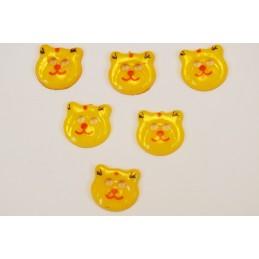 LOT 6 BOUTONS : tete ours jaune fonçé 17mm