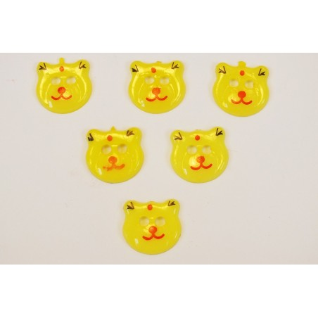 LOT 6 BOUTONS : tete ours jaune clair 17mm