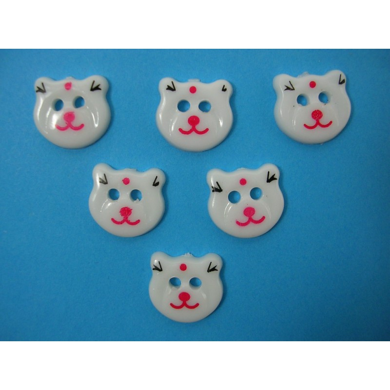 LOT 6 BOUTONS : tete ours blanc 17mm