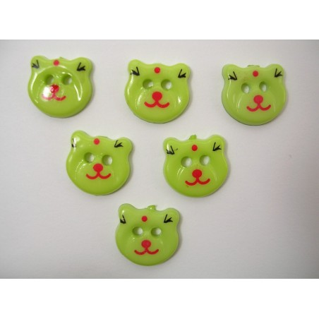 LOT 6 BOUTONS : tete ours vert 17mm