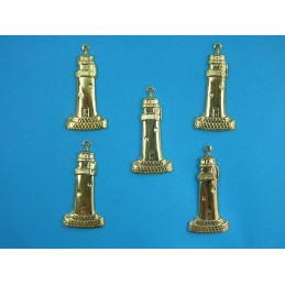 LOT 5 CHARMS METALS DORES : Phare 32 mm