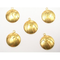 LOT 5 CHARMS METALS DORES : ballon 15mm