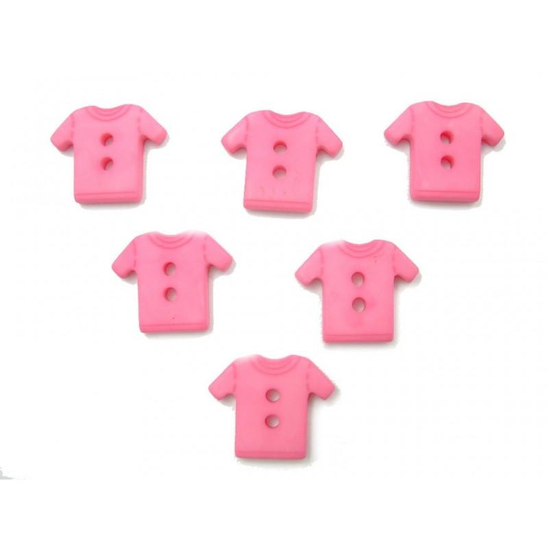 LOT 6 BOUTONS : tee shirt rose 12mm