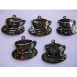 LOT 5 CHARMS METALS : Tasse a cafe 20mm