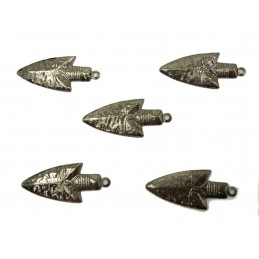LOT 5 CHARMS METALS NOIRS : Pelle 25mm