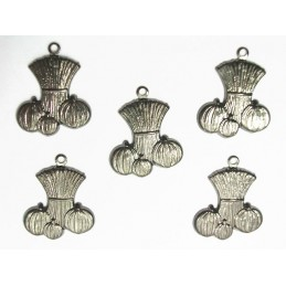 LOT 5 CHARMS METALS NOIRS : potiron 19mm