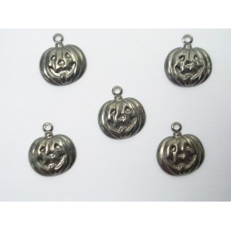 LOT 5 CHARMS METALS : citrouille halloween 12mm