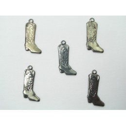 LOT 5 CHARMS METALS NOIRS : Botte cavalier 18mm