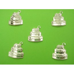 LOT 5 CHARMS METALS : gateau 15mm