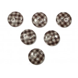 LOT 6 BOUTONS : rond vichy marron/blanc 13mm