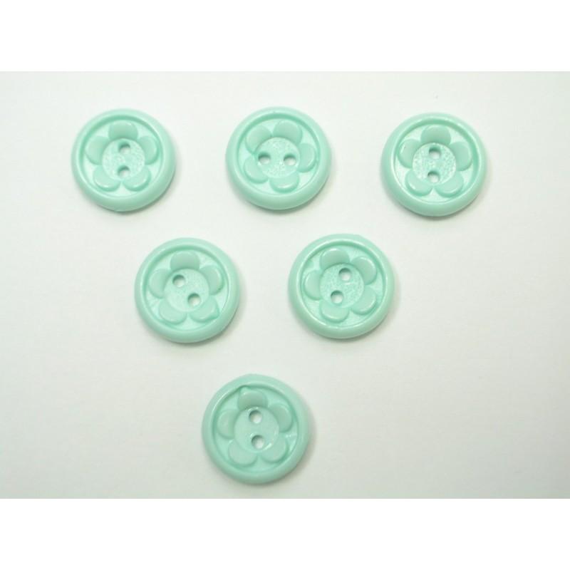 LOT 6 BOUTONS : rond fleur bleu ciel 13mm