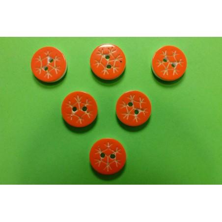 LOT 6 BOUTONS : rond motif flocon orange 13mm