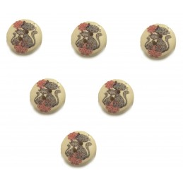 LOT 6 BOUTONS BOIS : rond...