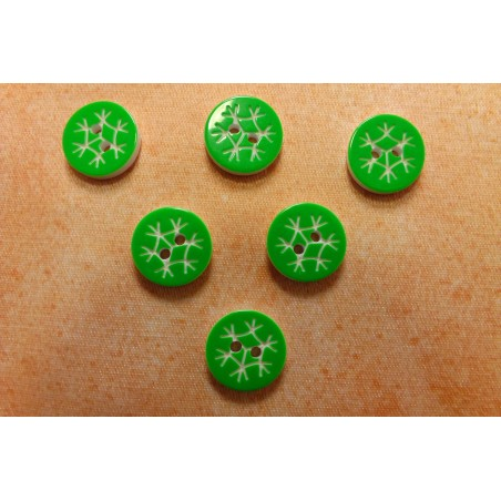 LOT 6 BOUTONS : rond motif flocon vert 13mm