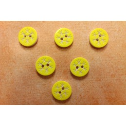 LOT 6 BOUTONS : rond motif flocon jaune 13mm