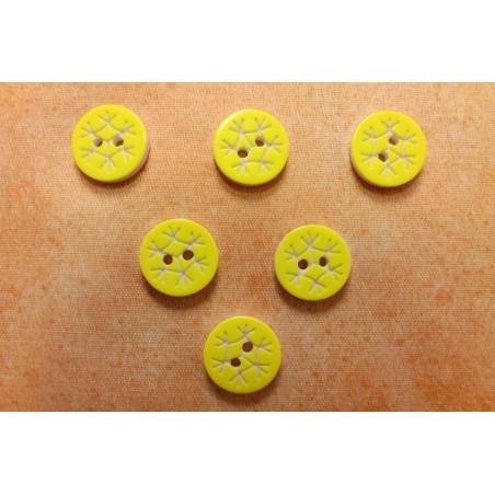 LOT 6 BOUTONS : rond motif flocon jaune 13mm