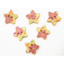 LOT 6 BOUTONS BOIS : etoile motif fleur 18mm (n°05)