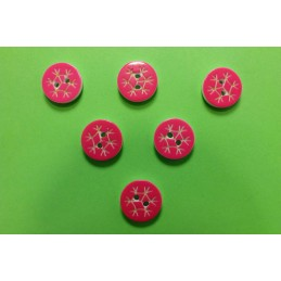LOT 6 BOUTONS : rond motif flocon rose 13mm