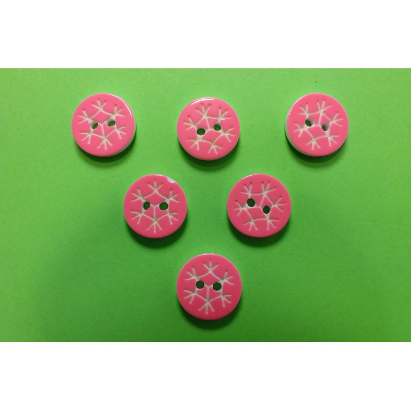 LOT 6 BOUTONS : rond motif flocon rose clair 13mm