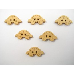 LOT 6 BOUTONS BOIS : voiture 20mm
