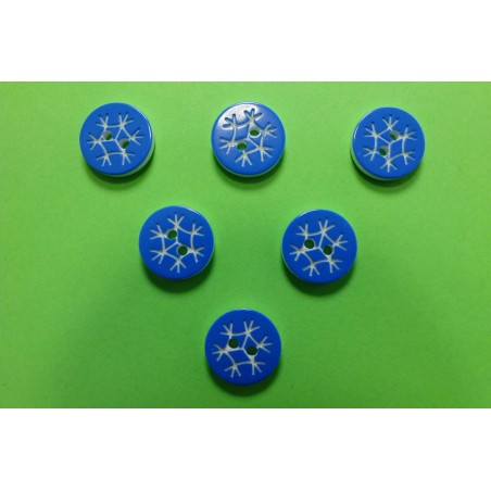 LOT 6 BOUTONS : rond motif flocon bleu 13mm