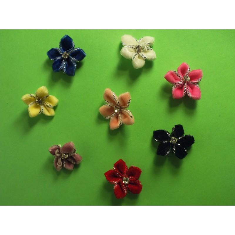 LOT 8 APPLIQUES TISSU VELOURS : fleur brillante + pierre 8 couleurs 20mm