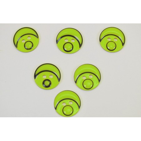 LOT 6 BOUTONS : rond motif tete bonhomme vert 15mm