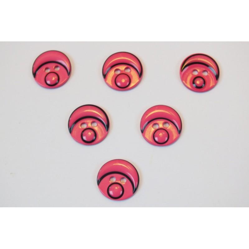 LOT 6 BOUTONS : rond motif tete bonhomme rose fonçé 15mm