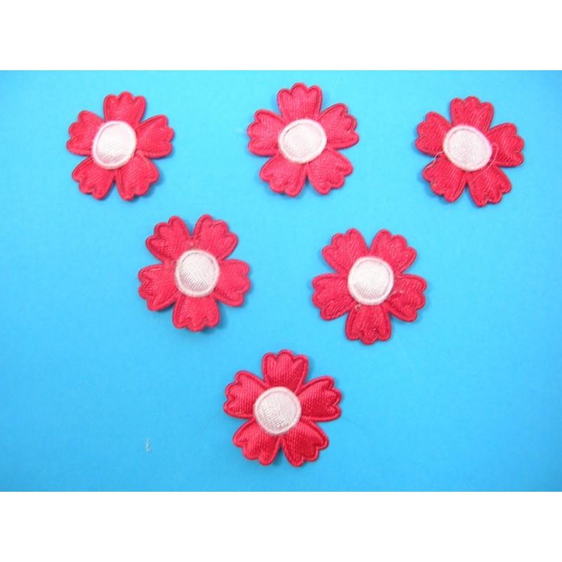 LOT  6 APPLIQUES TISSUS  : fleur rouge/rose 20mm