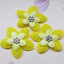 LOT  5 APPLIQUES TISSUS  : fleur rose clair + perles 60mm