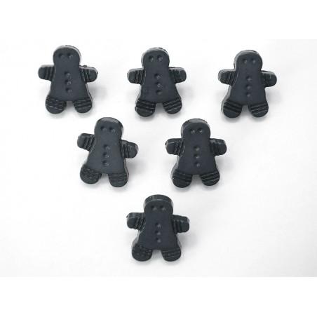 LOT 6 BOUTONS : pain d'épice noir 17mm