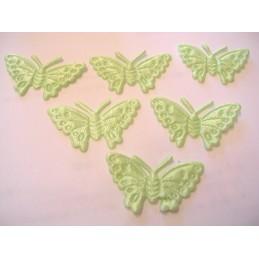 LOT  6 APPLIQUES TISSUS  : papillon 30mm