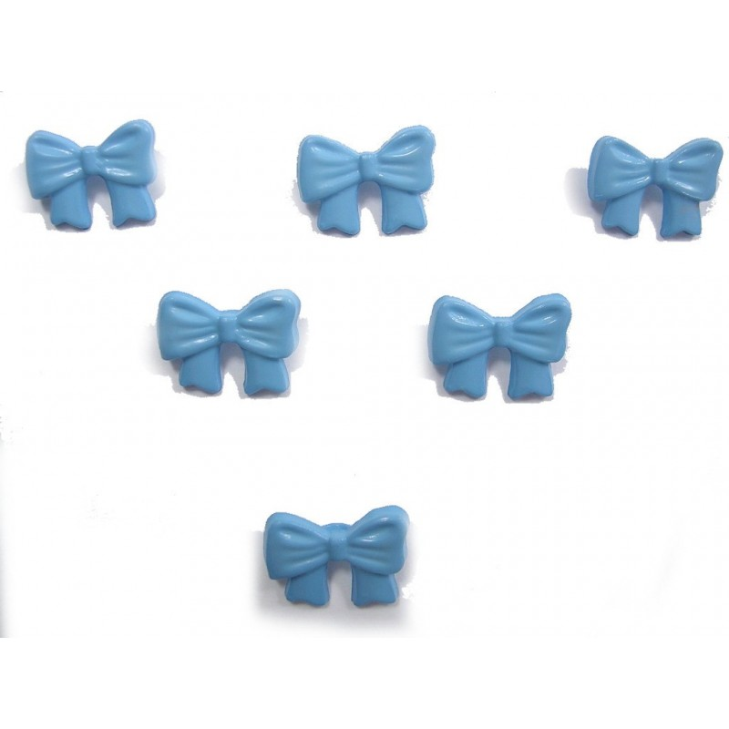 LOT 6 BOUTONS : noeud papillon bleu 16mm