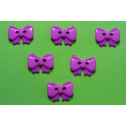 LOT 6 BOUTONS : noeud papillon mauve 17mm