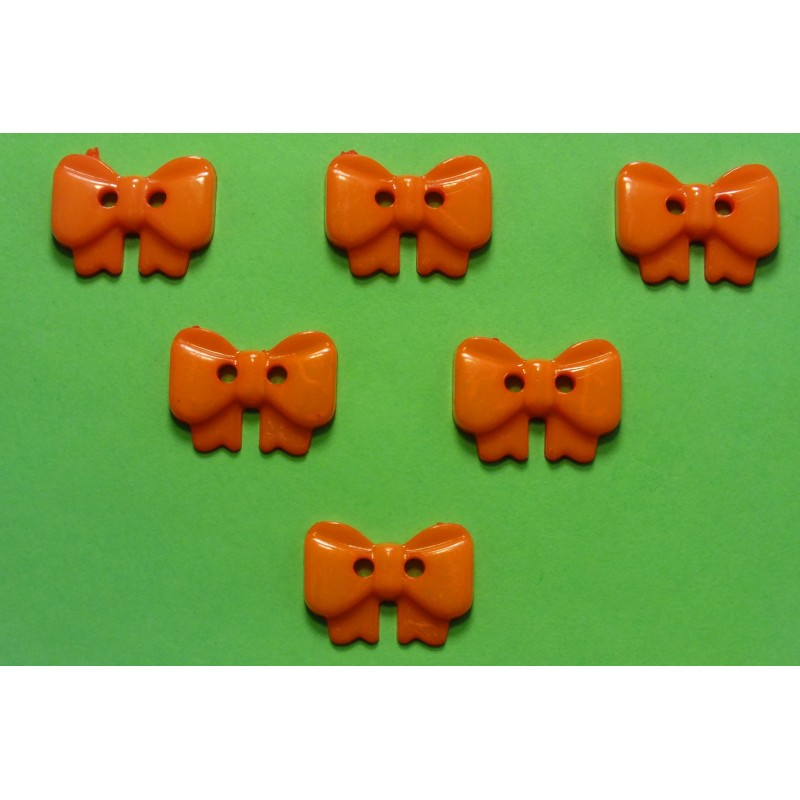 LOT 6 BOUTONS : noeud papillon orange 17mm