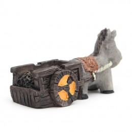 MINIATURE EN RESINE : ane gris  avec charrette longueur 6cm