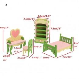MINIATURE EN BOIS : ensemble 4 pièces chambre vert rose et jaune